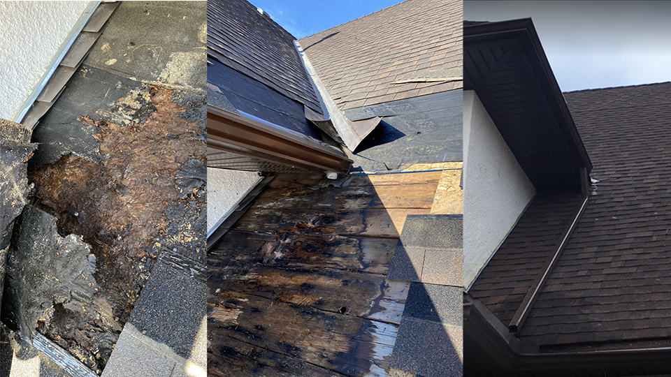 three images side by side showing a roof repair done for a legion branch in Strathmore, AB