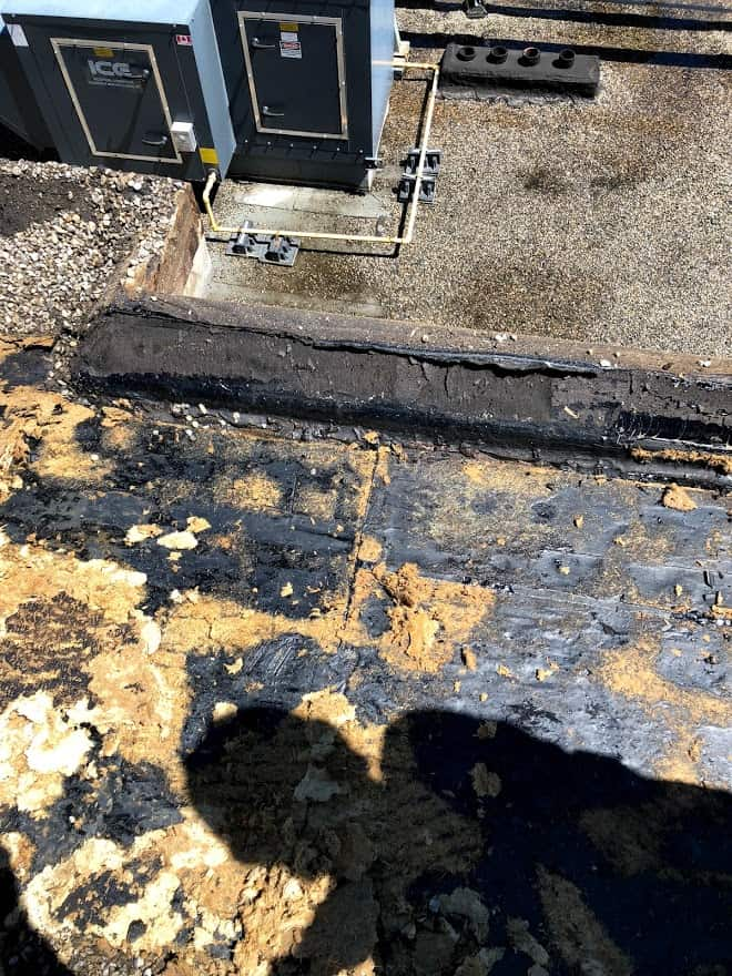 Calgary downtown roof inspection showing water damage on a flat roof