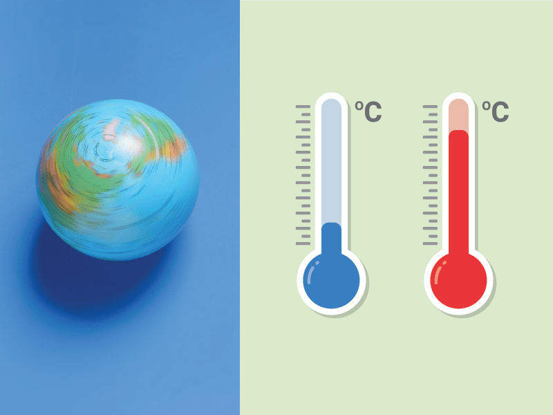Earth on one side with two thempoters showing cold and hot illustrating different climates around the world.