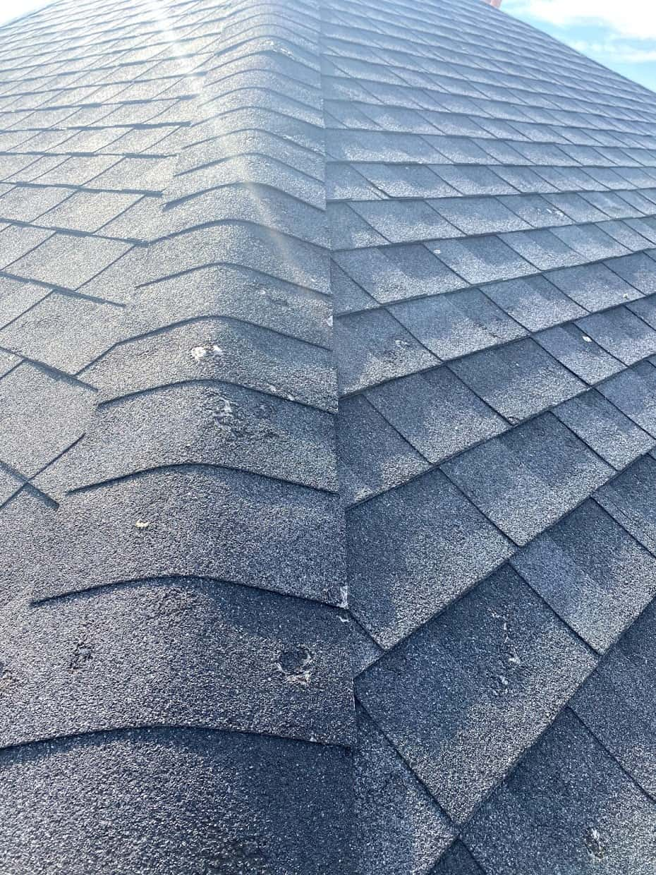A roof in Calgary that has hail damage