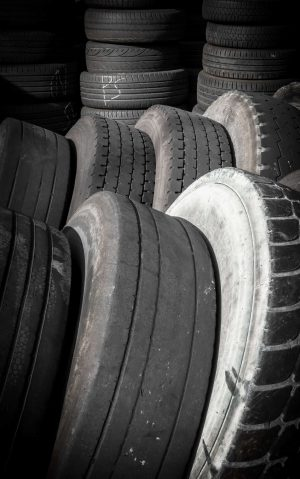 A set of old tires waiting to recycled